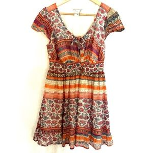 American Rag Bohemian Orange Purple Dress Size XL